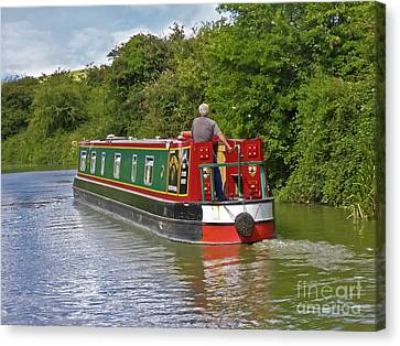 Canal Boat Canvas Print by Terri Waters