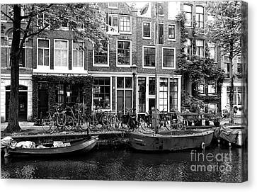 Canal Boats In Amsterdam Mono Canvas Print