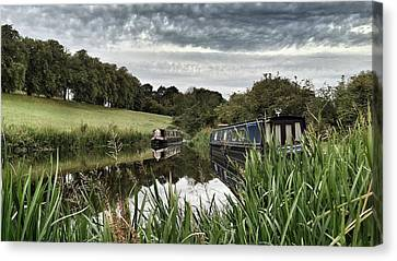 Canvas Print featuring the photograph Canal Boats by RKAB Works