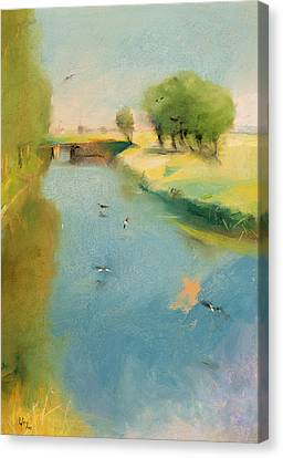 Canal Canvas Print by Lesser Ury