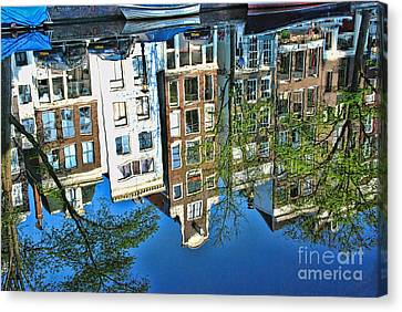 Canvas Print featuring the photograph Amsterdam Canal Reflection  by Allen Beatty