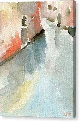 Canal Reflection Watercolor Painting Of Venice Italy Canvas Print