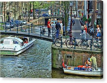 Canvas Print featuring the photograph Amsterdam Canal Scene 1 by Allen Beatty