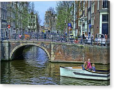 Canvas Print featuring the photograph Amsterdam Canal Scene 3 by Allen Beatty