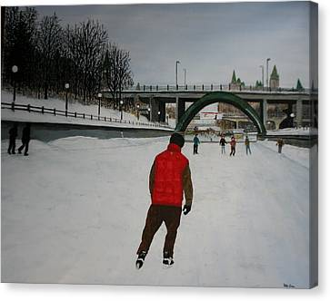 Canal Skate Canvas Print by Betty-Anne McDonald