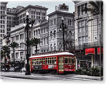 Train Tracks Canvas Print - Canal Street Trolley by Tammy Wetzel