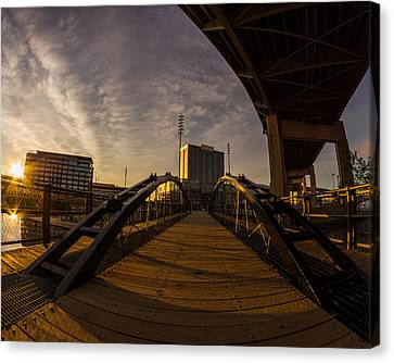 Canvas Print featuring the photograph Canalside Dawn No 5 by Chris Bordeleau