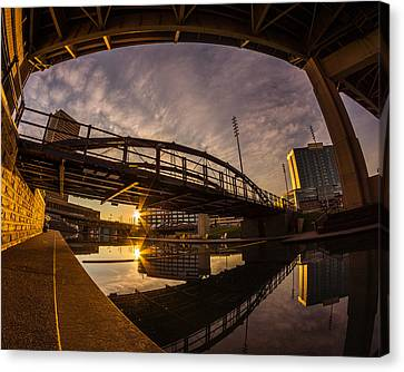 Canvas Print featuring the photograph Canalside Dawn No 6 by Chris Bordeleau