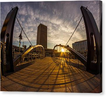 Canvas Print featuring the photograph Canalside Dawn No 7 by Chris Bordeleau