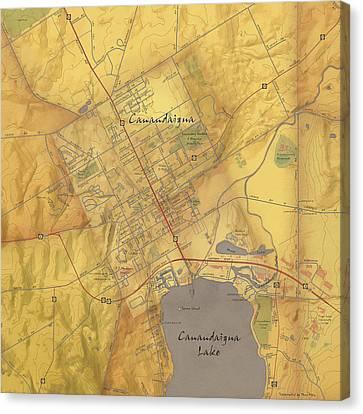 Finger Lakes Canvas Print - Canandaigua Map Art by Paul Hein