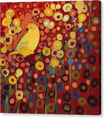 Birds Canvas Print - Canary In Red by Jennifer Lommers