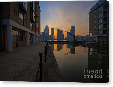 Canary Wharf Sunrise Canvas Print by Donald Davis