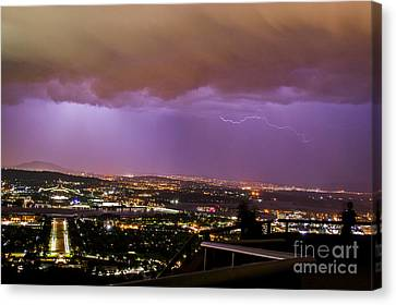 Canvas Print featuring the photograph Canberra Lightning Storm by Angela DeFrias
