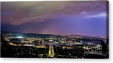 Canvas Print featuring the photograph Canberra Stormy Night by Angela DeFrias