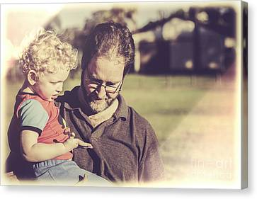 Candid Retro Father And Son Talking Canvas Print by Jorgo Photography - Wall Art Gallery