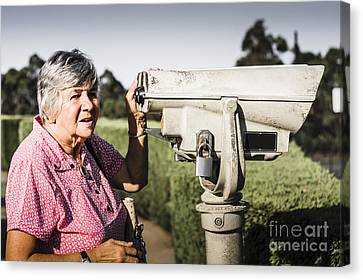 Outlook Canvas Print - Candid Senior Woman Enjoying A Mountain Top View by Jorgo Photography - Wall Art Gallery