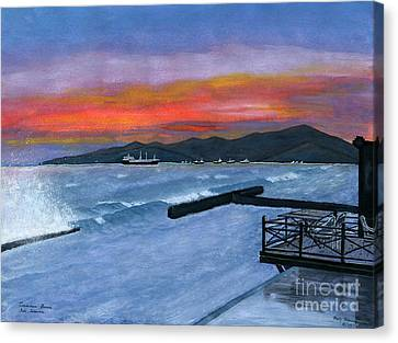 Canvas Print featuring the painting Candidasa Sunset Bali Indonesia by Melly Terpening