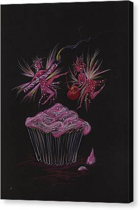 Canvas Print featuring the drawing Candle Cherry by Dawn Fairies