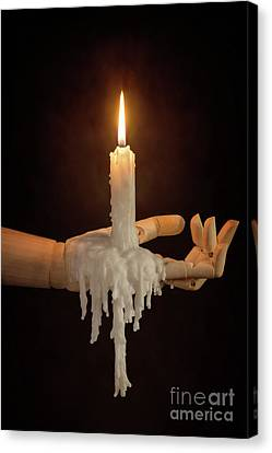 Candle In Wooden Hand Canvas Print by Amanda Elwell