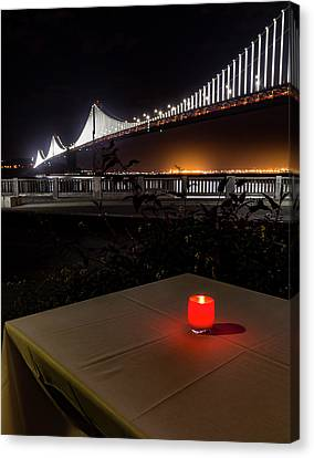 Canvas Print featuring the photograph Candle Lit Table Under The Bridge by Darcy Michaelchuk