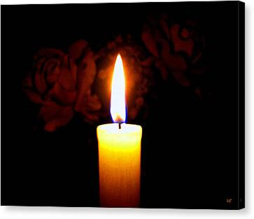 Canvas Print featuring the photograph Candlelight And Roses by Will Borden