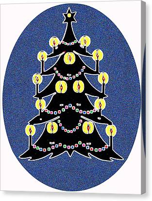 Candlelit Christmas Tree Canvas Print by Nancy Mueller