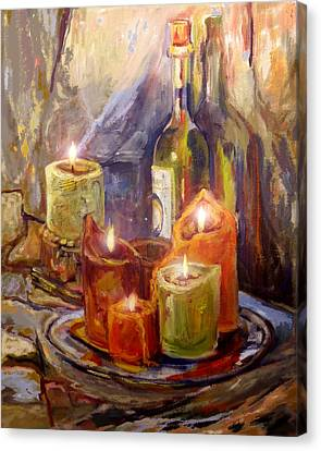 Candles And Wine Bottle Canvas Print by Peggy Wilson