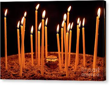 Candles At The Church Of Holy Luke At Monastery Of Hosios Loukas In Greece Canvas Print