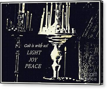 Candles In Church Card 3 Canvas Print
