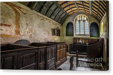 Candles In Old Church Canvas Print by Adrian Evans