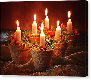 Display Canvas Print - Candles In Terracotta Pots by Amanda Elwell