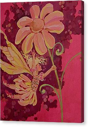 Flower Pink Fairy Child Canvas Print - Candy 2 by Jackie Rock