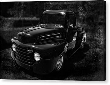 Vintage  F1 Chevy Truck Bw Canvas Print