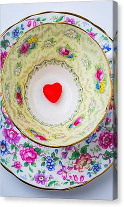 Candy Heart In Tea Cup Canvas Print by Garry Gay