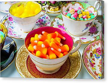 Candy In Tea Cups Canvas Print by Garry Gay