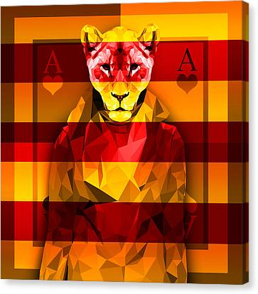 Candy Lioness Canvas Print by Gallini Design