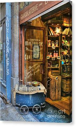 Candy Shop In Old Town Lyon Canvas Print by Mel Steinhauer