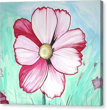 Candy Stripe Cosmos Canvas Print by Mary Ellen Frazee
