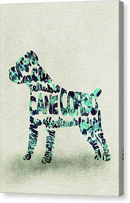 Cane Corso Watercolor Painting / Typographic Art Canvas Print