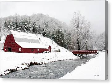 Caney Fork Snow Barn 2010 Canvas Print