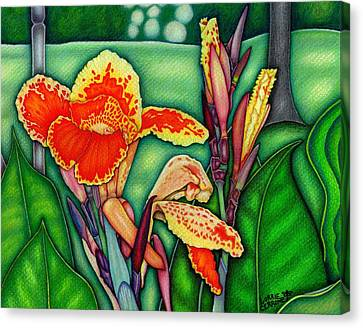 Canna Lilies In Bloom Canvas Print by Lorrie Cerrone