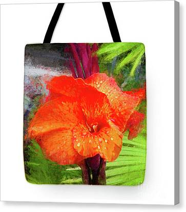 Canna Lily Red Bloom - Tote Canvas Print by Mona Stut