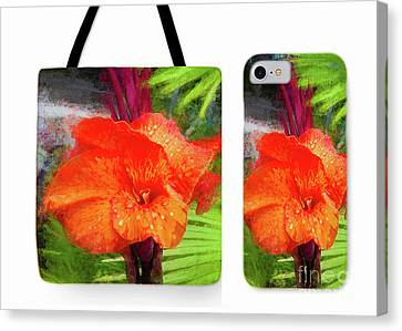 Canna Lily Red Bloom Tote Phone Case Set Canvas Print by Mona Stut