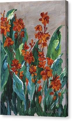 Canvas Print featuring the painting Cannas by Jamie Frier