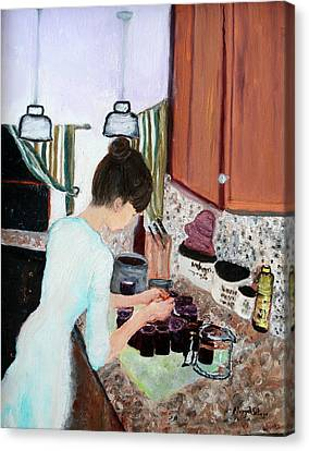 Canning Blueberry Jam Canvas Print
