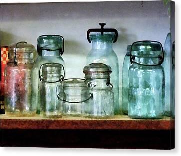 Mason Jars Canvas Print - Canning Jars On Shelf by Susan Savad