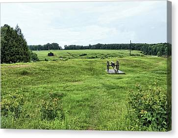 Civil War Site Canvas Print - Cannon Overlooking Prison Site by John Trommer