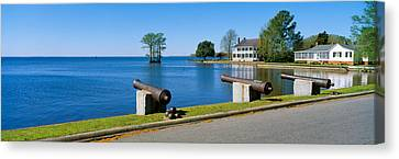 Barker Canvas Print - Cannons And Barker House From 1762 by Panoramic Images