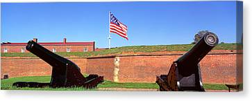 Cannons And Wall At Fort Mchenry Canvas Print by Panoramic Images