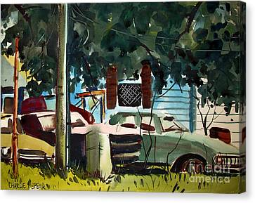Canvas Print featuring the painting Cannus Auto And Used Cars Framed by Charlie Spear